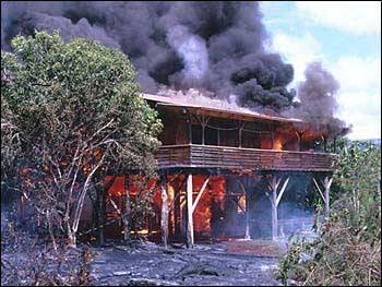 Home destroyed by Lava