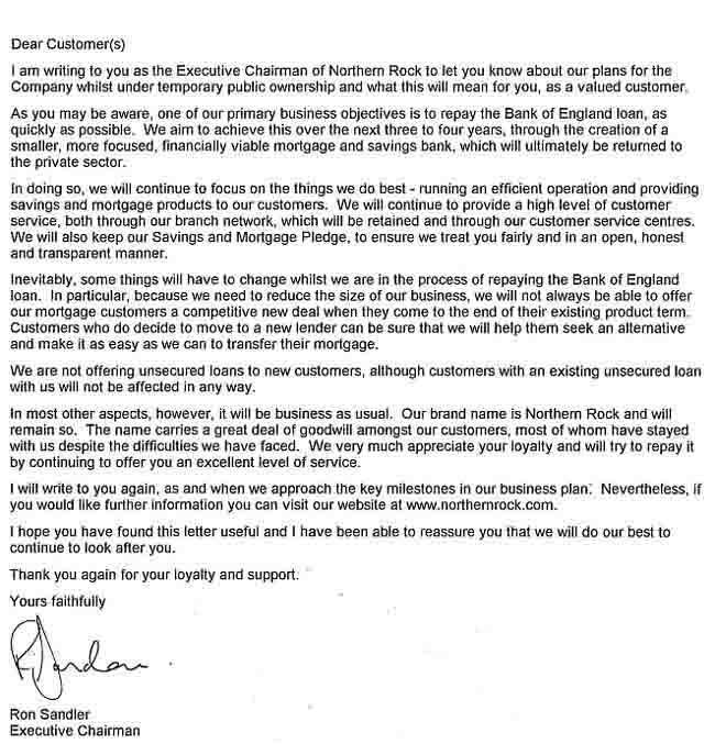 Northern Rock Letter