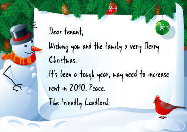 Rent Increase Christmas Card Message