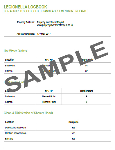 Legionella Logbook Sample