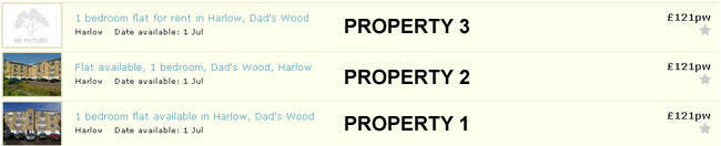 Gumtree Experiment - property search results