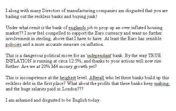 House Price Crash Forum Member Writes To The Bank Of England- The Letter