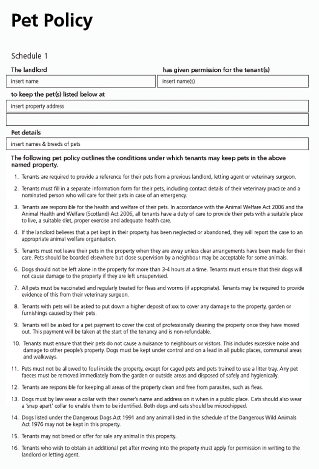 Pet Clause Policy Form For Tenancy Agreements