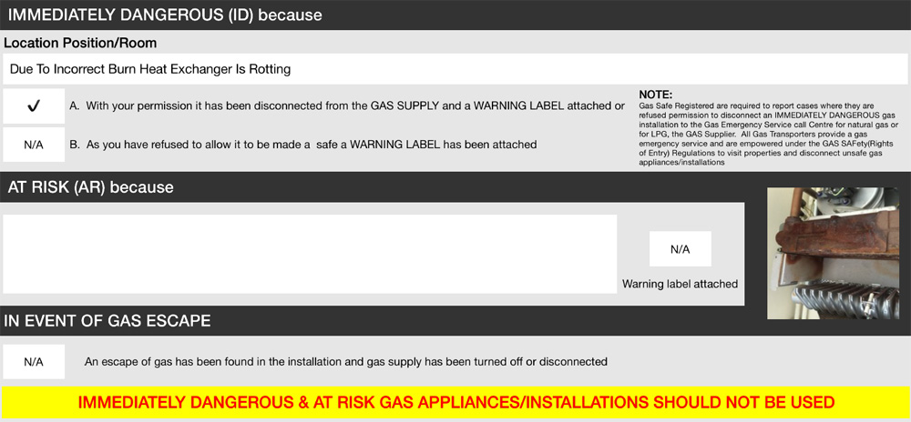 Gas Safety Fail