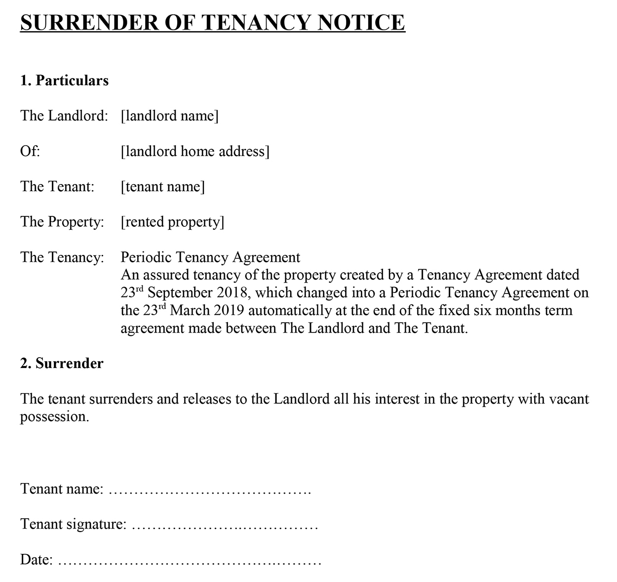 Surrender Of Tenancy' Notice For Tenants